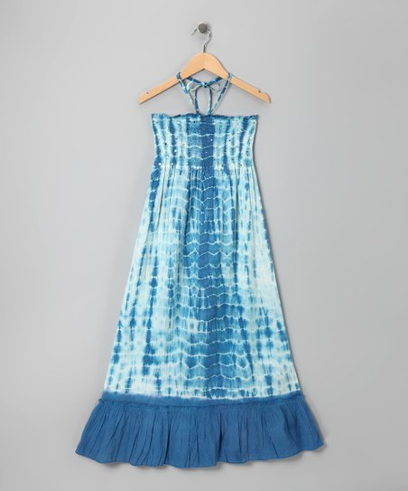 Blue Wave Sequin Tie-Dye Convertible Dress - Girls