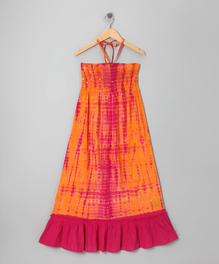 Pink & Sorbet Sequin Tie-Dye Convertible Dress - Girls