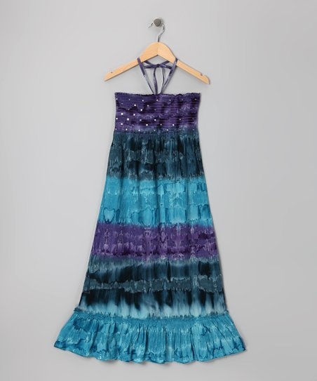 Purple Marble Sequin Tie-Dye Convertible Dress - Girls