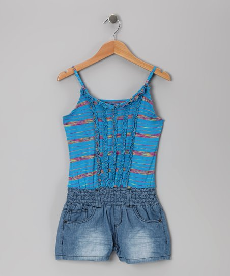 Medium Stone & Turquoise Space-Dye Romper - Girls