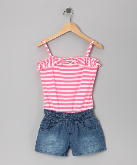 Neon Pink Stripe & Medium Stone Wash Romper - Girls