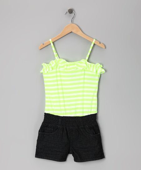 Neon Yellow Stripe &amp; Dark Stone Wash Romper - Girls