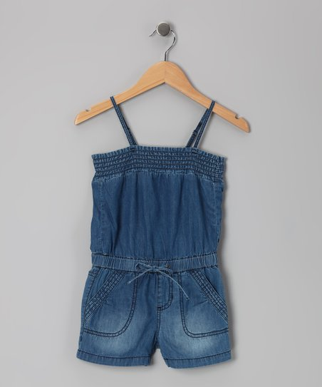 Medium Stone Wash Pork Chop Romper - Girls