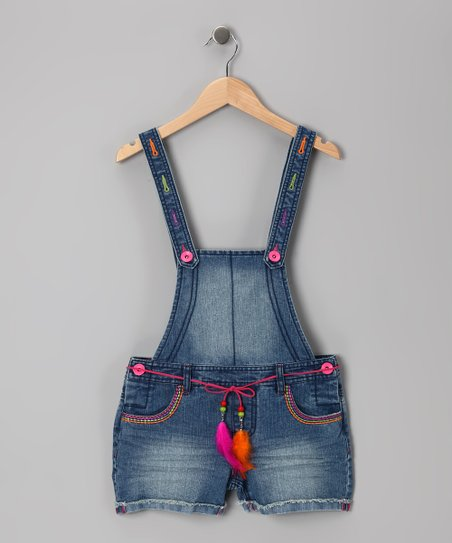 Medium Stone Wash Shortalls - Girls