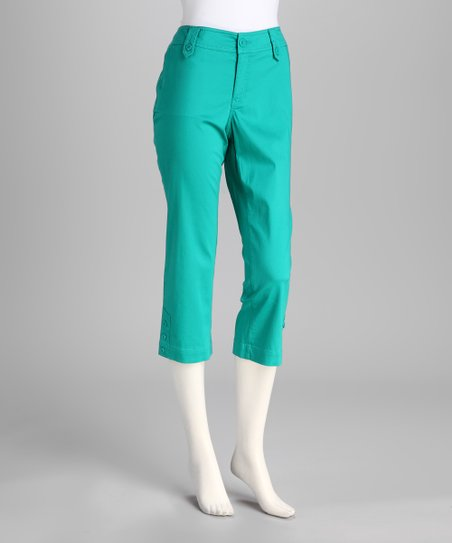 Jade Green Sateen Capri Pants
