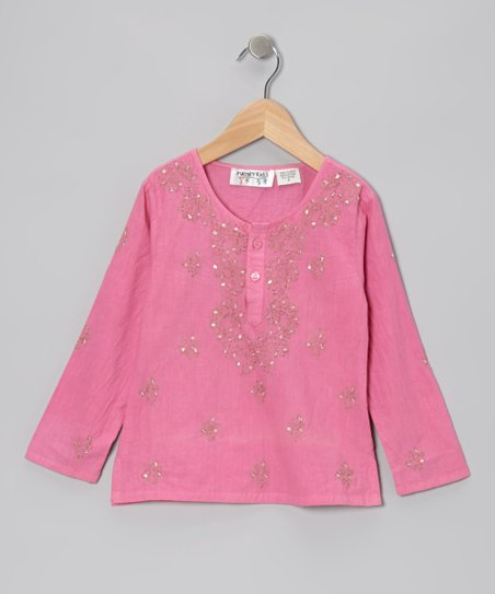 Pink Embroidered Beaded Tunic - Toddler & Girls