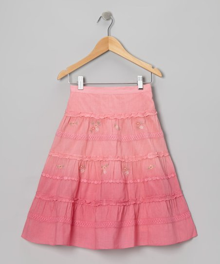 Pink Flower Embroidered Skirt - Toddler & Girls