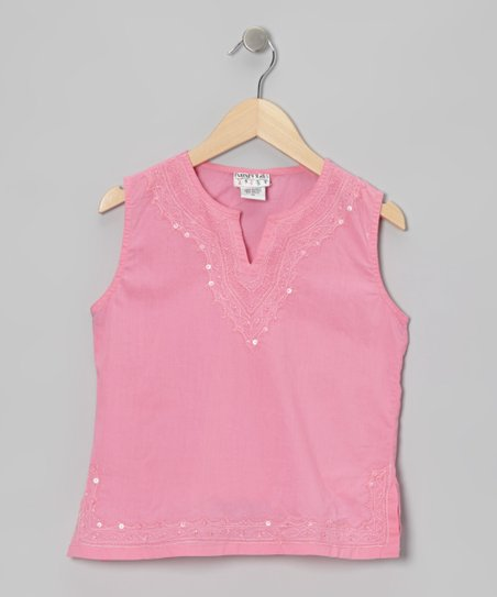 Fuchsia Embroidered Sequin Tank - Girls