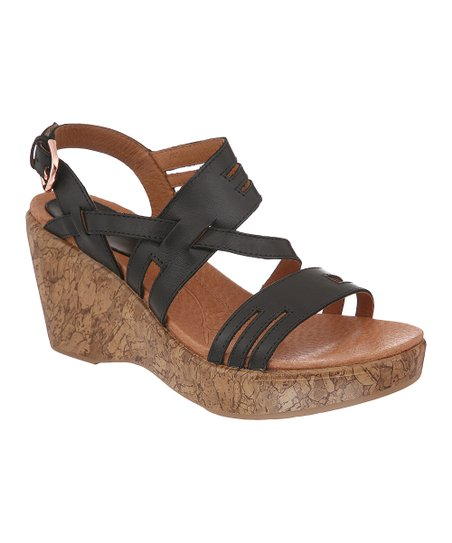 Black Soft Café Frankie Wedge Sandal