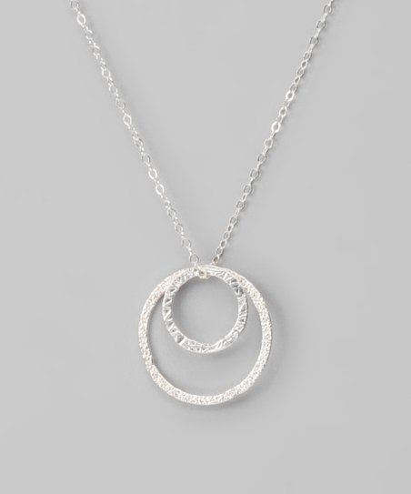 Sterling Silver Large & Small Hammered Circle Pendant Necklace