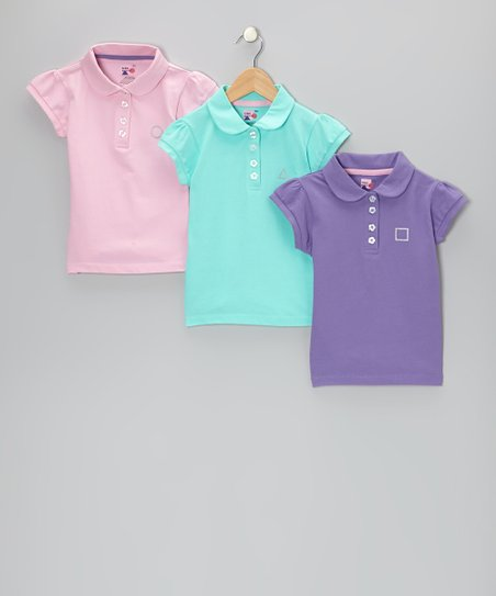 Pink, Aqua & Purple Savannah Polo Set - Toddler & Girls