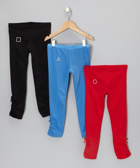 Black, Blue & Red Alexandria Bow Leggings Set - Toddler & Girls