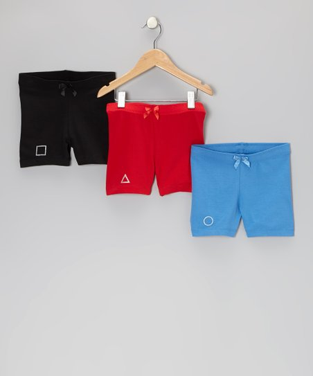 Black, Red & Blue Biloxi Shorts Set - Toddler & Girls