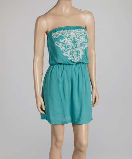 Blue Blouson Strapless Dress