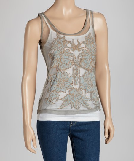 Gray Sheer Appliqué Top