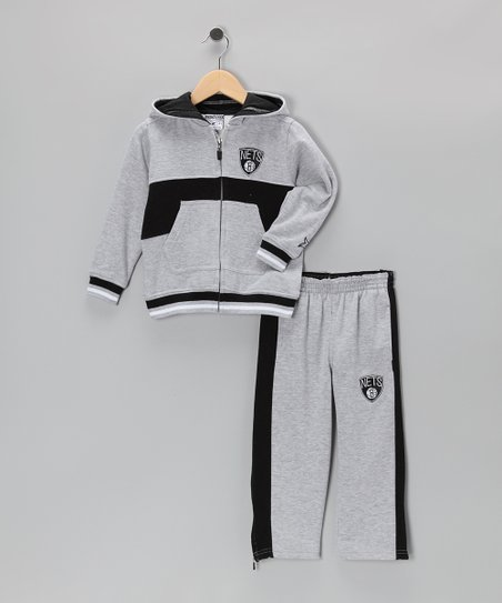 Gray Chones Brooklyn Nets Zip-Up Hoodie & Pants - Toddler