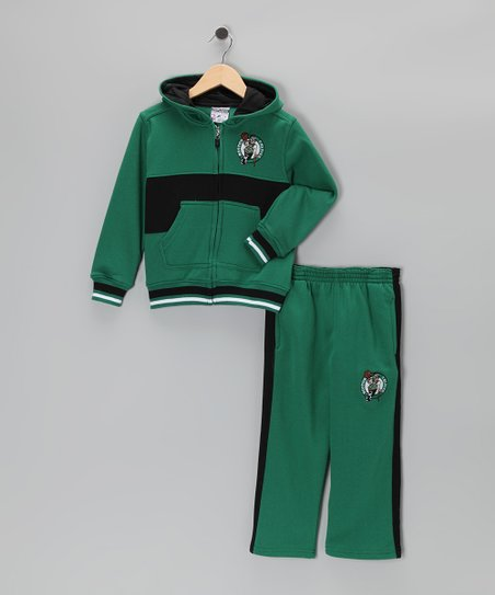 Green Chones Boston Celtics Zip-Up Hoodie & Pants - Kids