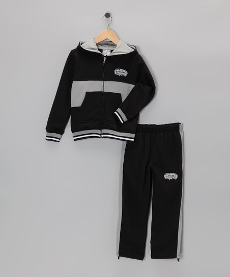 Black Chones San Antonio Spurs Zip-Up Hoodie & Pants - Kids