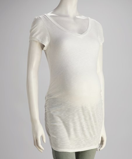 White Maternity Short-Sleeve Tunic