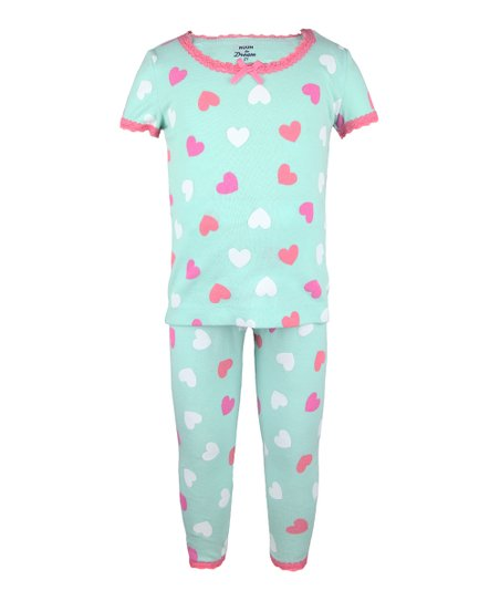 Teal & Rose Heart Pajama Set - Infant, Toddler & Girls