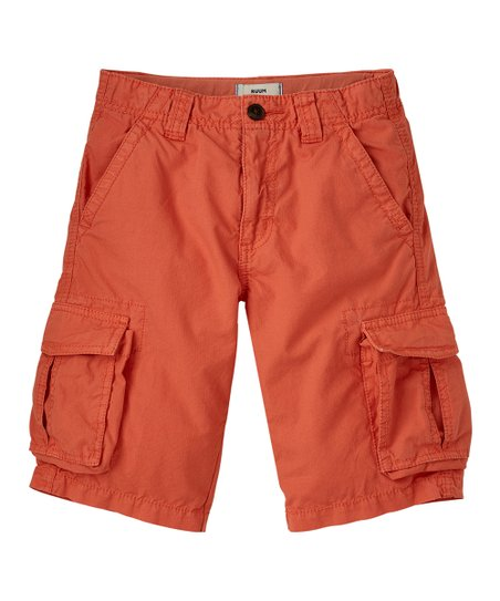 Washed Orange Ripstop Cargo Shorts - Boys