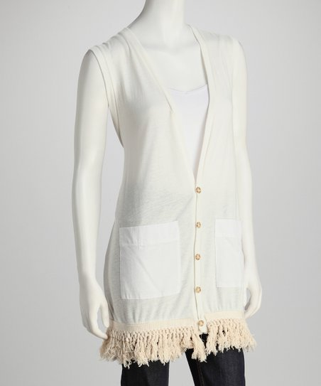 Natural Pocket Fringe Vest
