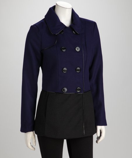 Indigo & Black Color Block Peacoat
