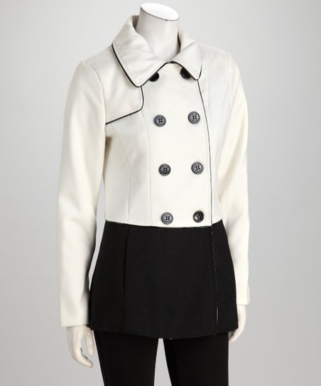 Ivory & Black Color Block Peacoat