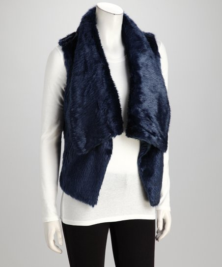Blue Faux Fur Vest