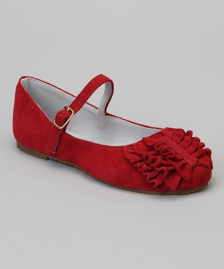 Red Ruffle Suede Mary Jane