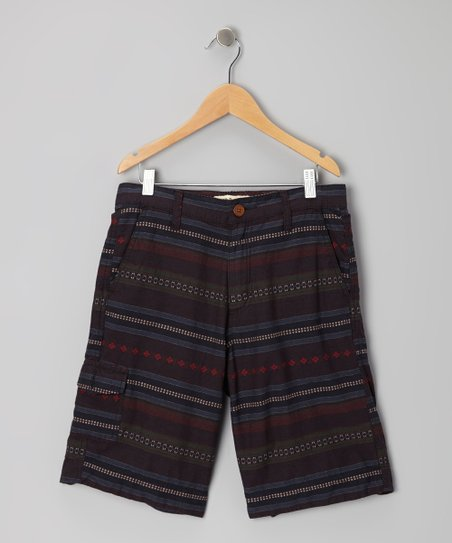 Navy Jaquard Stripe Shorts