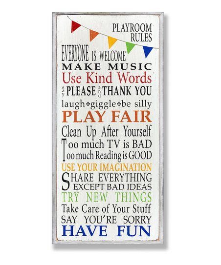 Playroom Rules Rainbow Wall Plaque