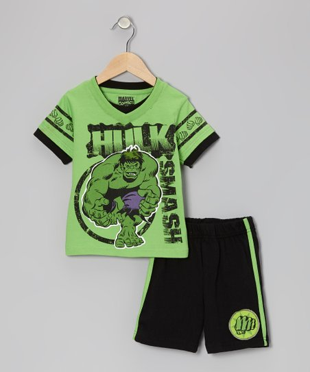 Green & Black 'Hulk Smash' Tee & Shorts - Infant, Toddler & Boys