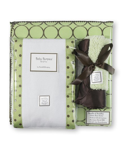 Lime & Brown Mod Circle Blanket Gift Set