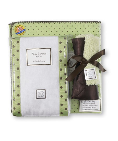 Lime & Brown Polka Dot Blanket Gift Set