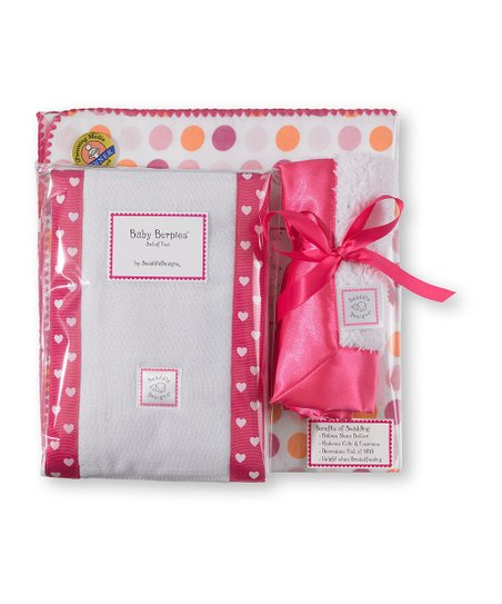 Fuchsia Dots & Hearts Blanket Gift Set