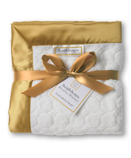 Gold & Ivory Puff Circle Stroller Blanket