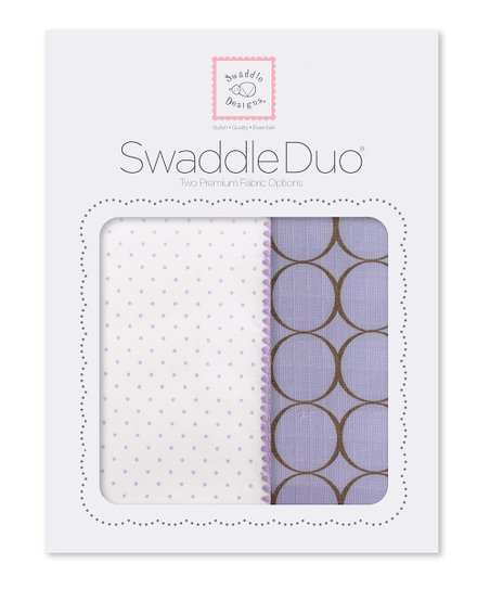 Lavender Polka Dot & Mod Circle Swaddling Blanket Duo