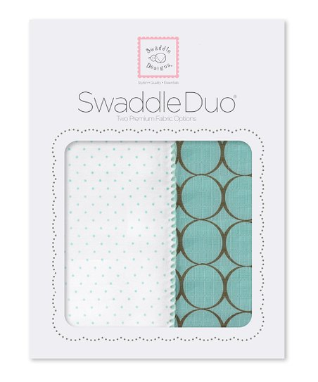 SeaCrystal Polka Dot &amp; Mod Circle Swaddling Blanket Duo