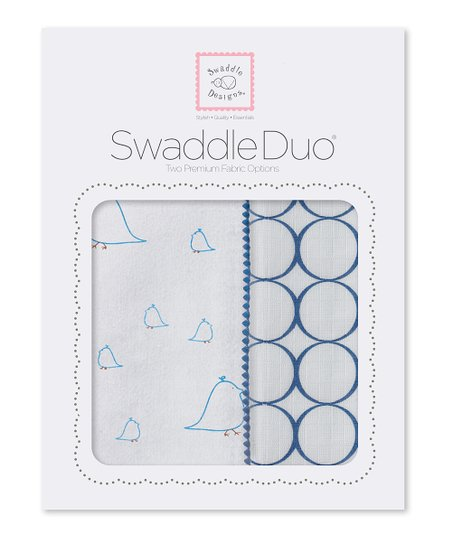 True Blue Chickies & Mod Circle Swaddling Blanket Duo