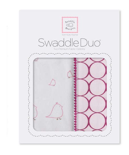 Very Berry Chickies & Mod Circle Swaddling Blanket Duo