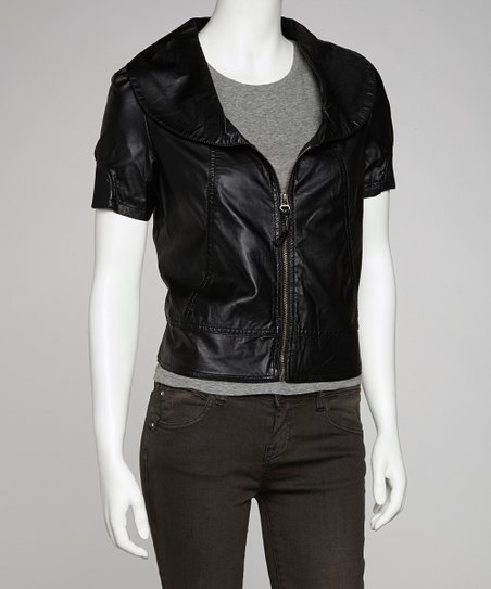 Black Oversize Collar Faux Leather Jacket - Women
