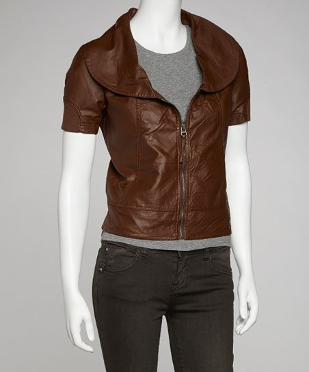 Coffee Oversize Collar Faux Leather Jacket - Women
