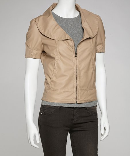 Khaki Oversize Collar Faux Leather Jacket