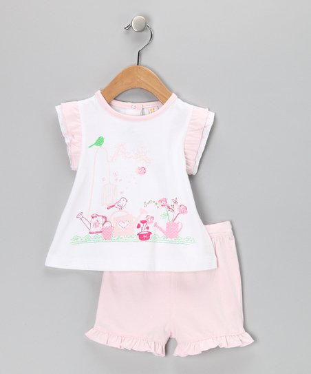 Pink & White Ruffle Garden Tee & Shorts - Infant & Toddler