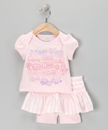 Pink Happy Tee & Skirted Shorts - Infant & Toddler