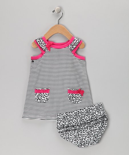 Black & White Cheetah Dress & Diaper Cover - Infant & Toddler