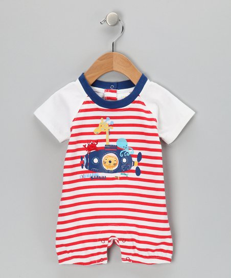 White &amp; Red Stripe Animal Submarine Romper - Infant
