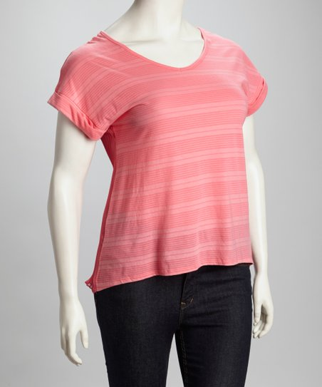 Coral Stripe Pleated Hi-Low Top - Plus