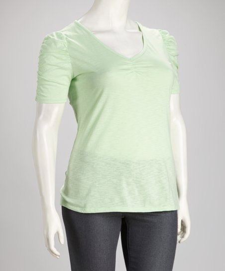 Mint Ruched Lace Back Plus-Size Top